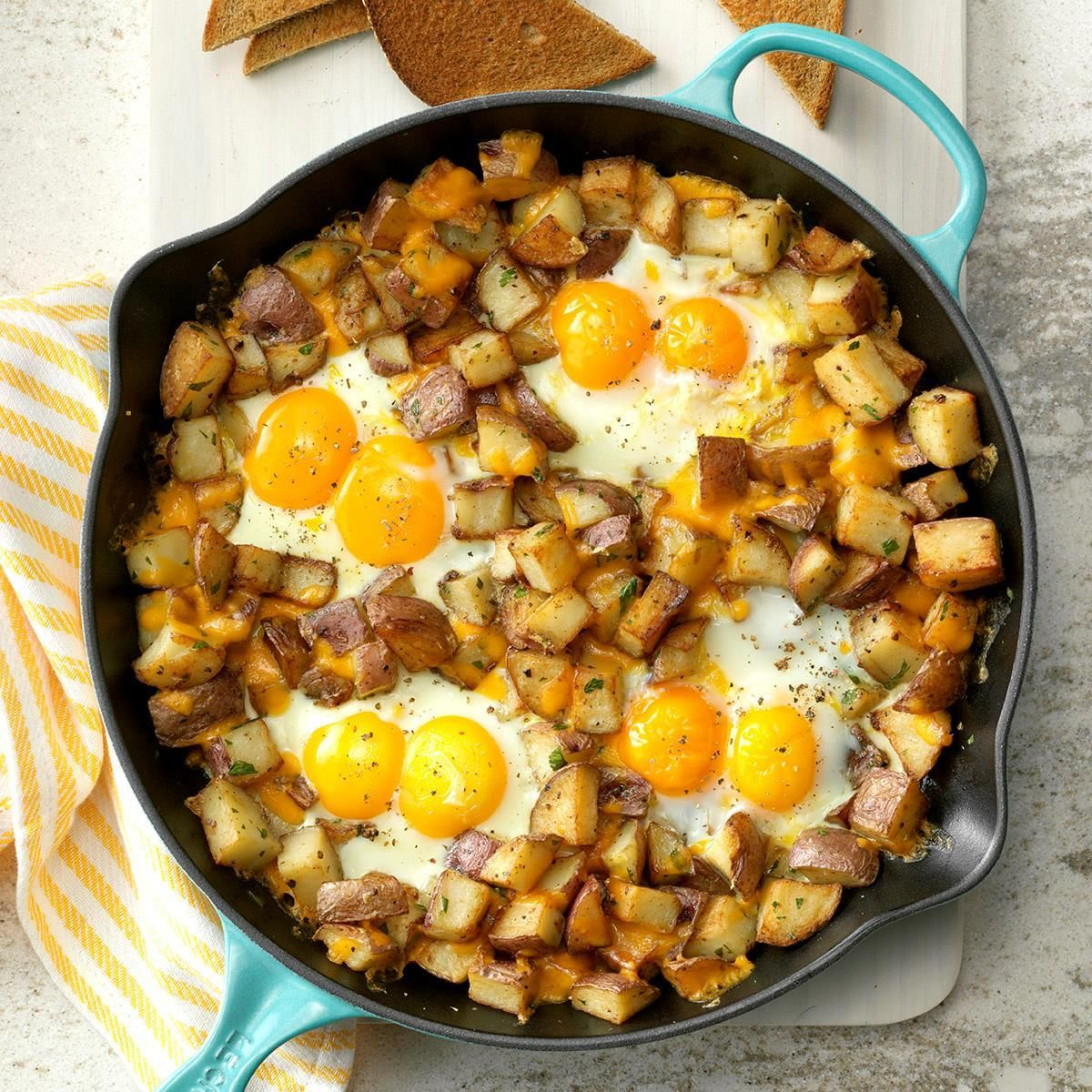 Baked Cheddar Eggs & Potatoes