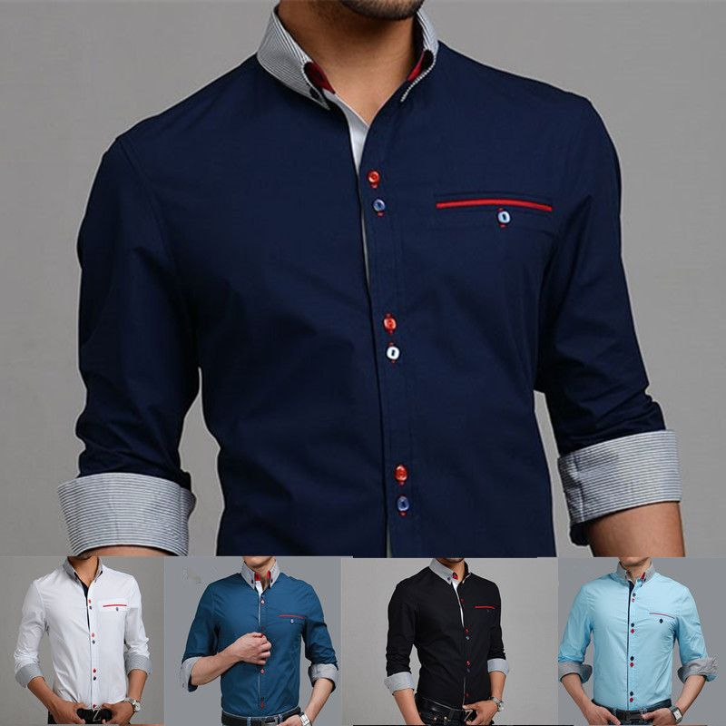 New 2014 Italian Mens Dress shirts Men's Blouses Long sleevee ...