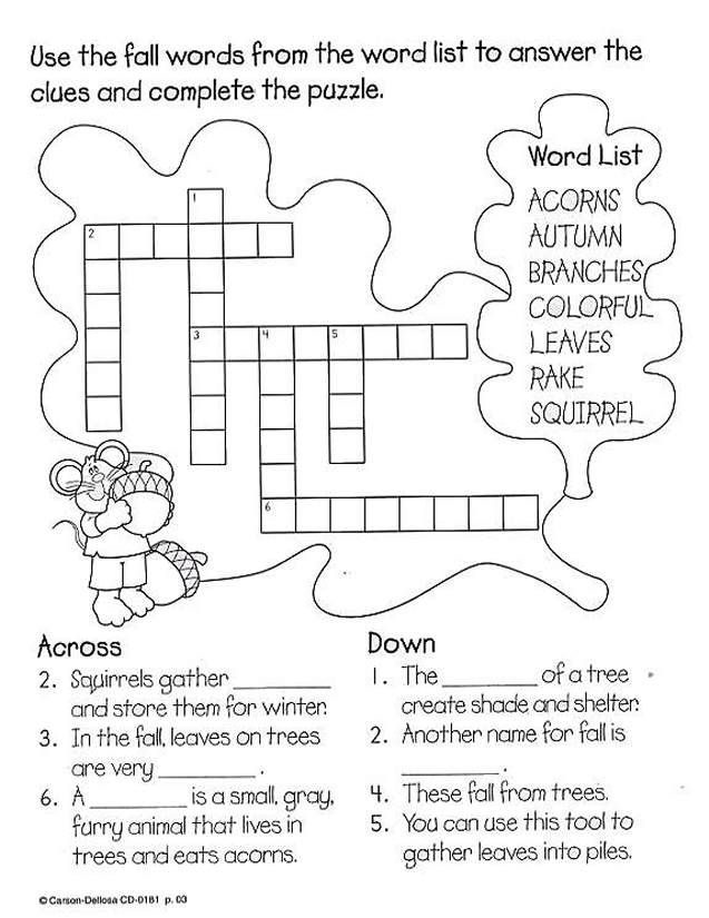 Fall Crossword   Fall words, School worksheets, Colorful ...