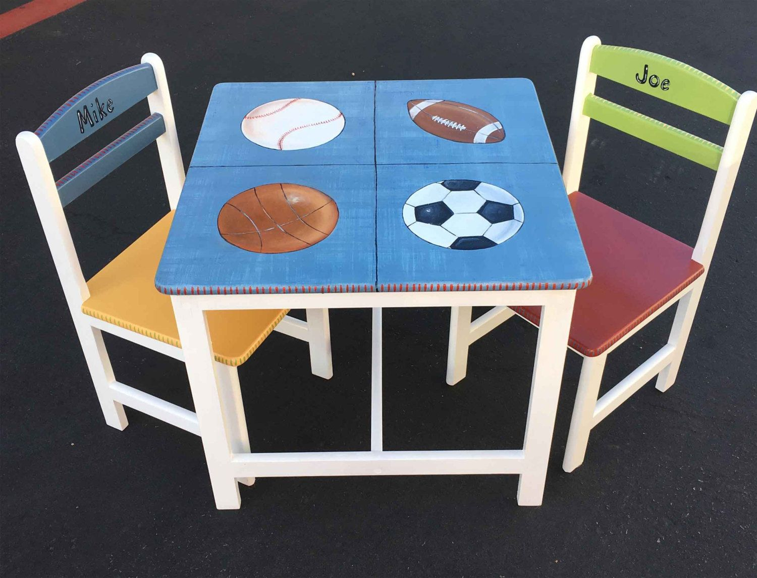 Sports Table Chair Set Hand Painted Children S Etsy Painting Kids Furniture Paint Kids Table Kids Table And Chairs Child's table and chair set