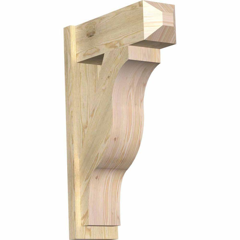Ekena Millwork 8 in. x 34 in. x 22 in. Fuston Craftsman Rough Sawn Douglas Fir Outlooker