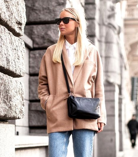 @Who What Wear - Day 4: Try a boyish look.                  Try: ASOS Petite Exclusive Coat With Contrast Collar ($149) in Camel  Band of Outsiders Boyfriend Jeans ($235) in Blue    Photo credit:Victoria Tornegren of Victoria Tornegren