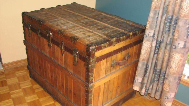 Oak slat antique trunk
