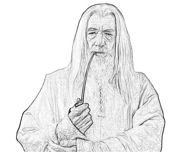gandalf smoking pipe in the lord of the rings coloring page