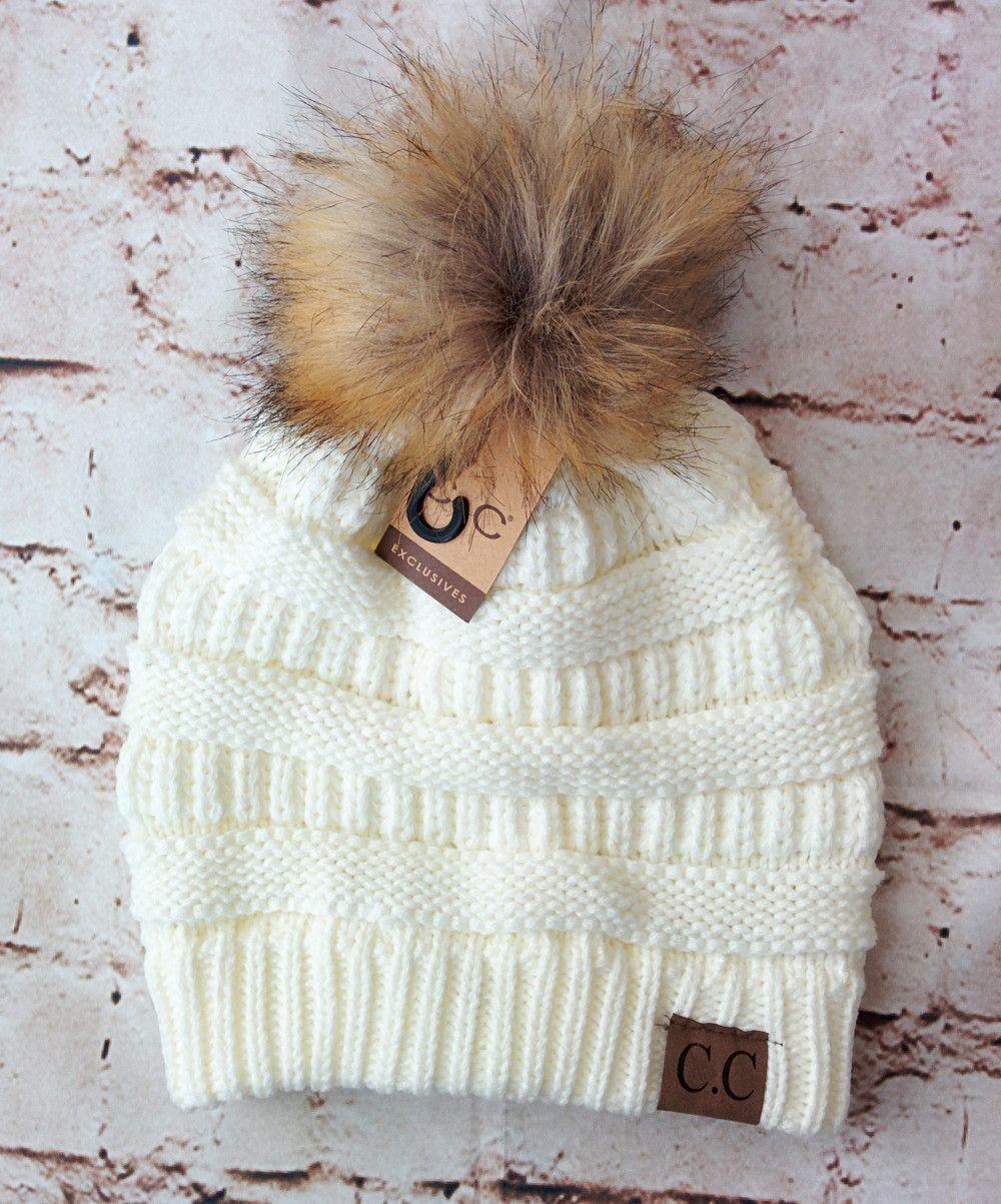 0b5475c13dd Fur Pom Pom Beanie Hats