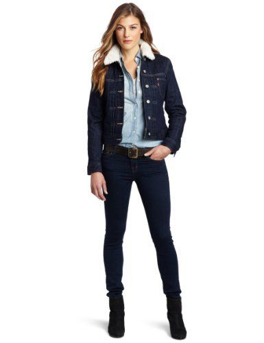 dfc4416935175 Levi's Women's Fully Lined Sherpa Jacket, Dark Indigo, X-Small Levi's.  $45.03. Made in Indonesia. Front pockets. Machine Wash. 99% Cotton/1%  Spandex.