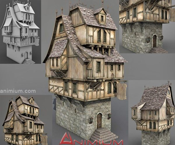 Medieval tavern or stone house 3d model highly detailed for House 3d model online