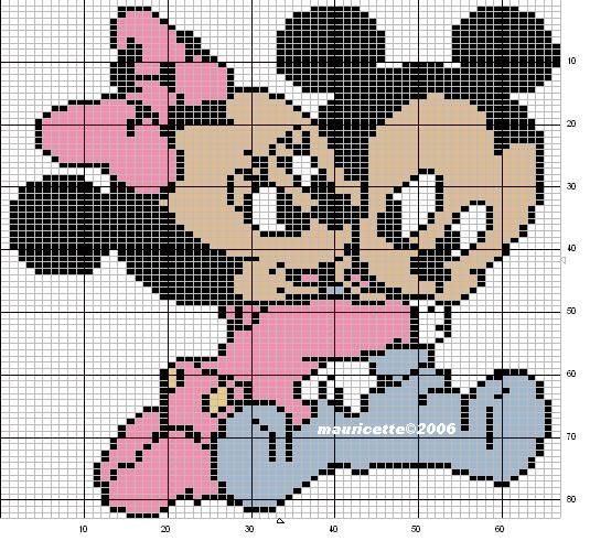Image Encore Un Couple Mickey Et Minie Bebe Aux Amoureux De La Broderie Patchwork Disney Dessin Petit Carreau Bebe Mickey