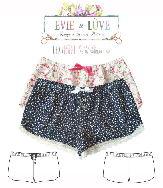 DIGITAL Lingerie Sewing Pattern - Lexi Chick Boxers lingerie pdf ...