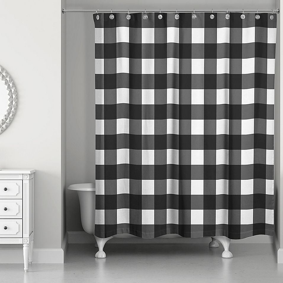 Designs Direct Buffalo Check Shower Curtain In Black Brown