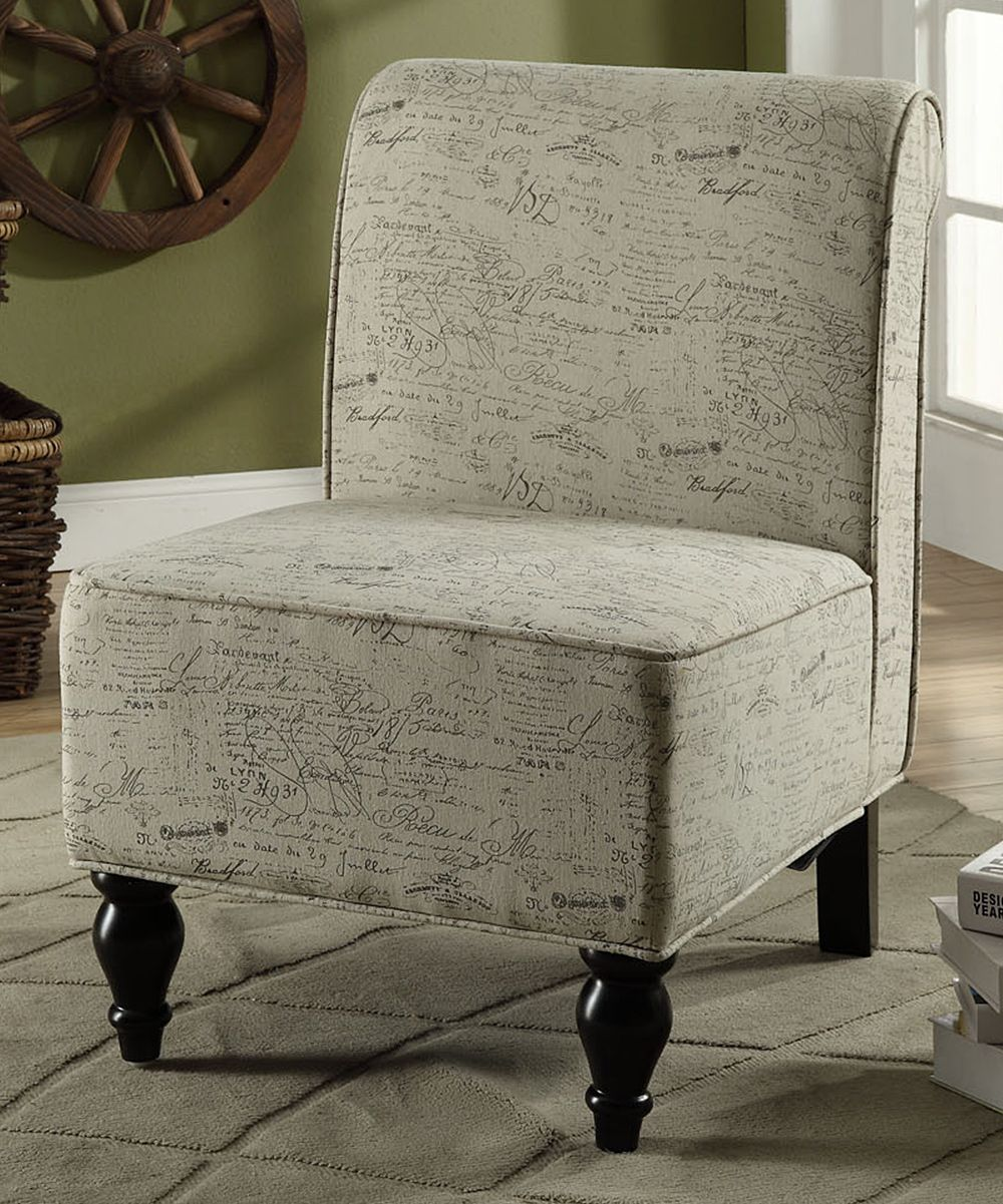 Vintage French Script Traditional Accent Chair