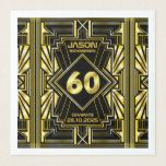 60th Birthday Art Deco Gold Black Great Gatsby Paper Dinner Napkin | Zazzle.com #papernapkins