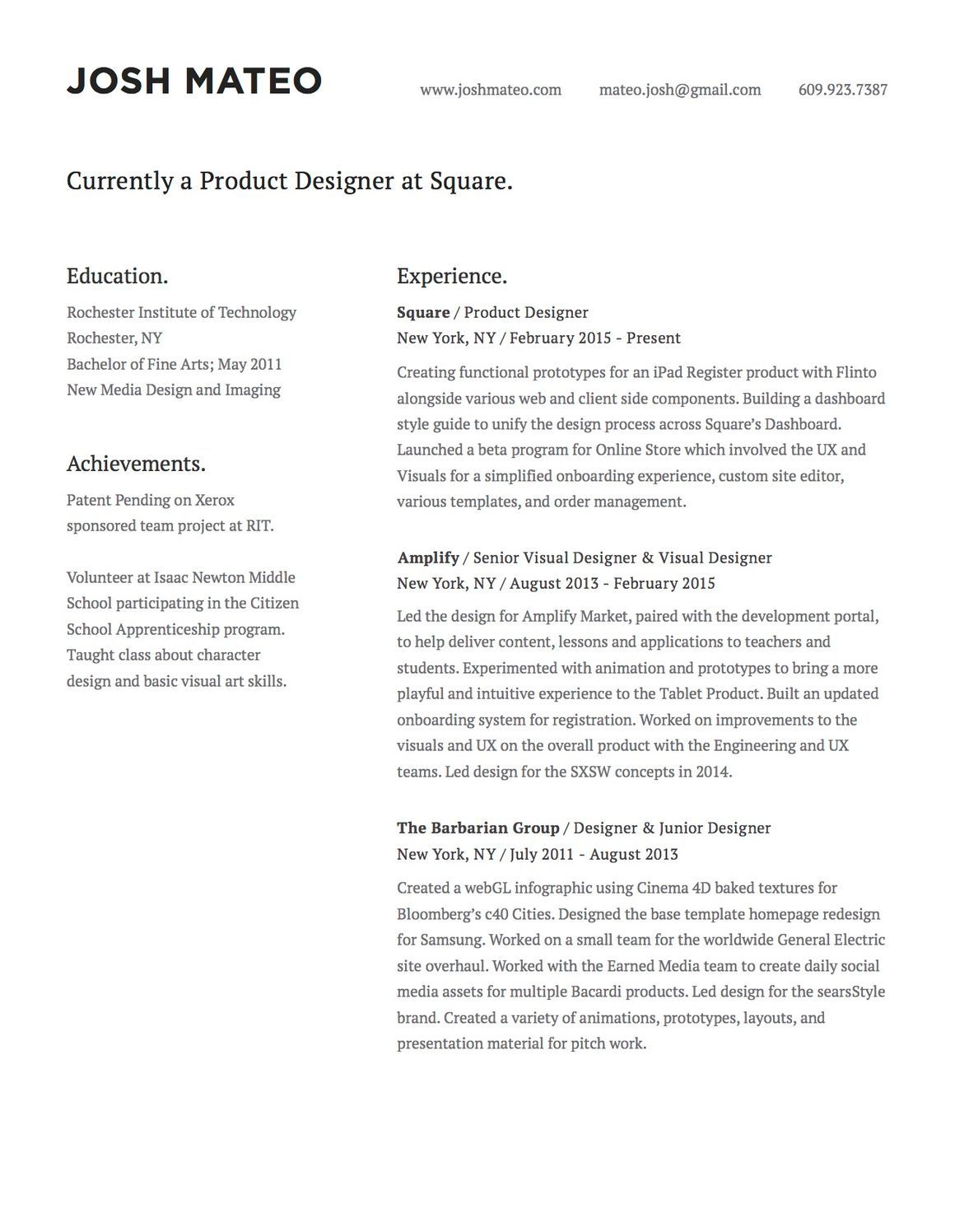 Resume by Josh Mateo Rochester institute of technology