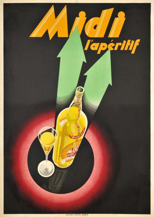 1930 Midi l'apéritif, French vintage advert poster