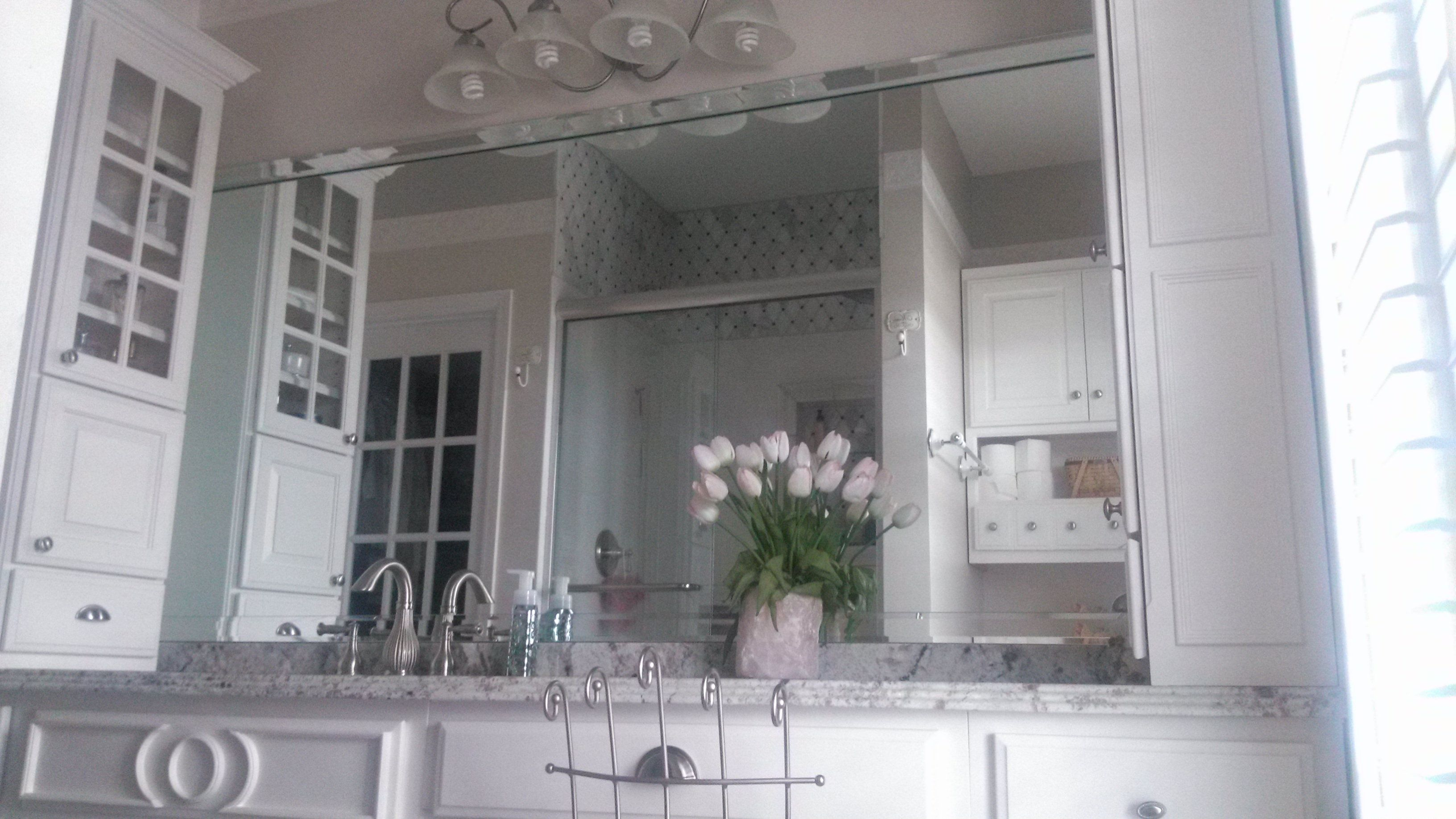 White Bathroom vanity with Makeup seating area White