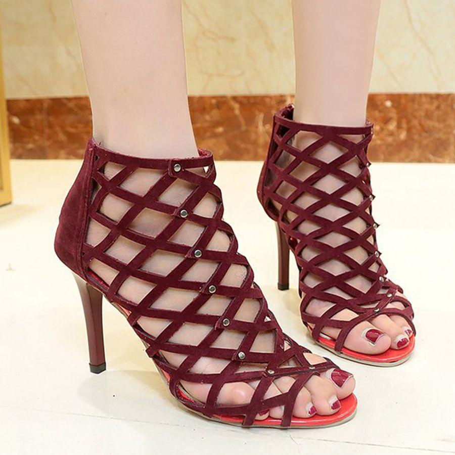 0e69cc92e753 Hollow Out Plain Stiletto High Heeled Velvet Peep Toe Date Platform Sandals   HighHeeledSandals
