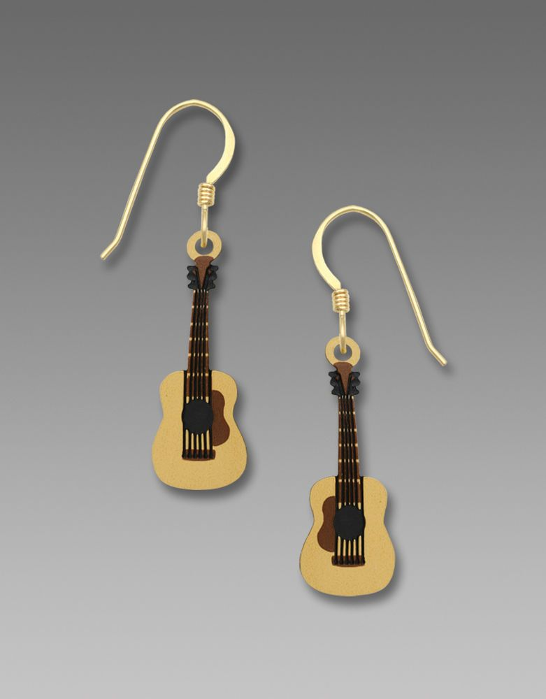 Acoustic Guitar Earrings - Sterling Silver QR0XuQ