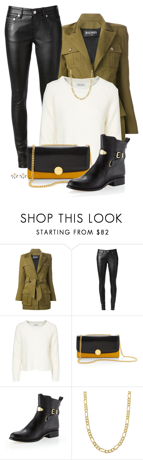 """Suit Up"" by livinglifeincolor ❤ liked on Polyvore featuring Balmain, Yves Saint Laurent, Carin Wester, Marc Jacobs, MICHAEL Michael Kors, Fremada, Pamela Love, leatherpants, ankleboots and chainnecklace"