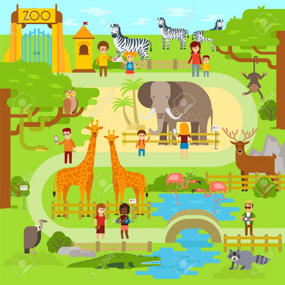 Zoo Vector Flat Illustration Animals Vector Flat Design Zoo Zoo Map Animal Flats Animal Illustration
