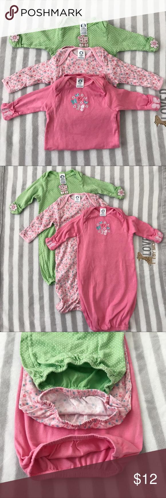 💐Gerber 0-6M Baby Nightgown Bundle Three Gerber baby nightgowns ...