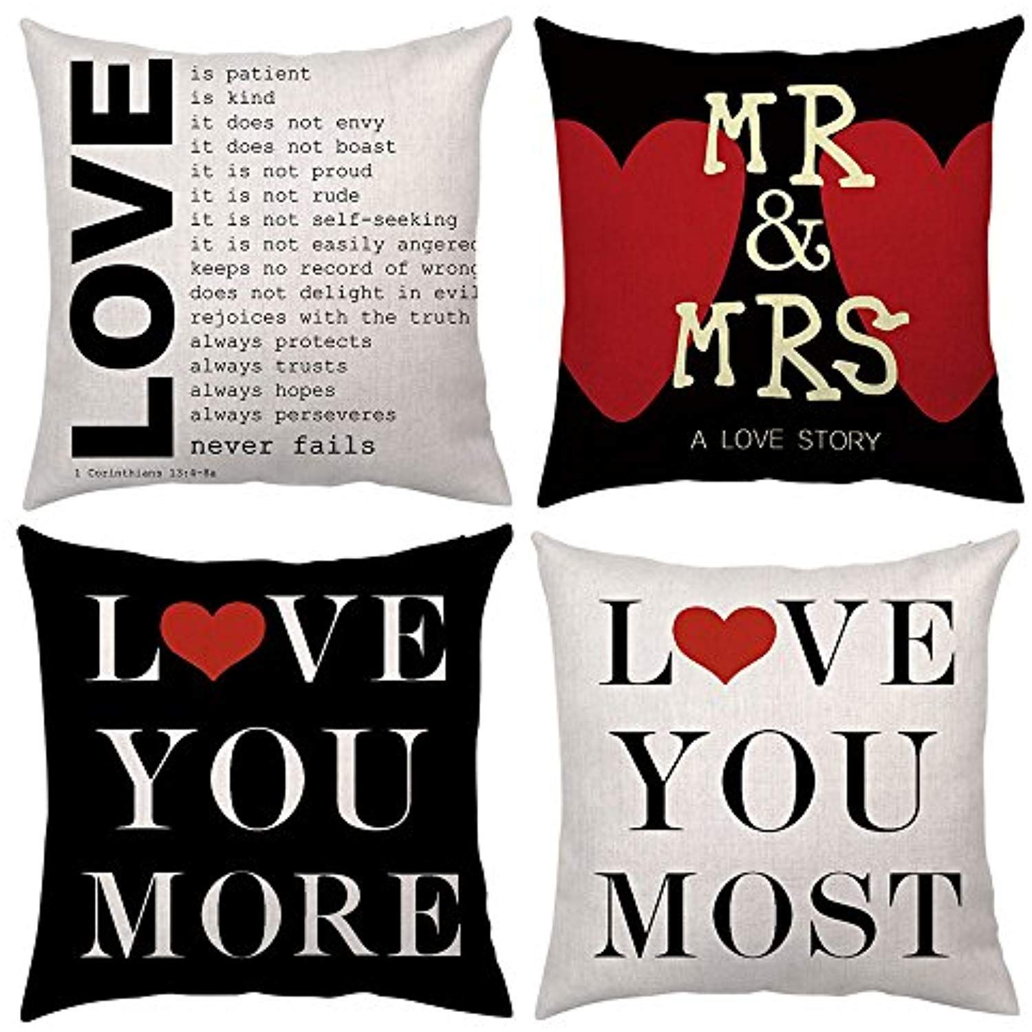 Love Quotes Throw Pillow Case Decorative Cushion Covers Pillows Love You More Most Mr Mrs Cot Decorative Cushion Covers Quote Throw Pillow Throw Pillow Cases