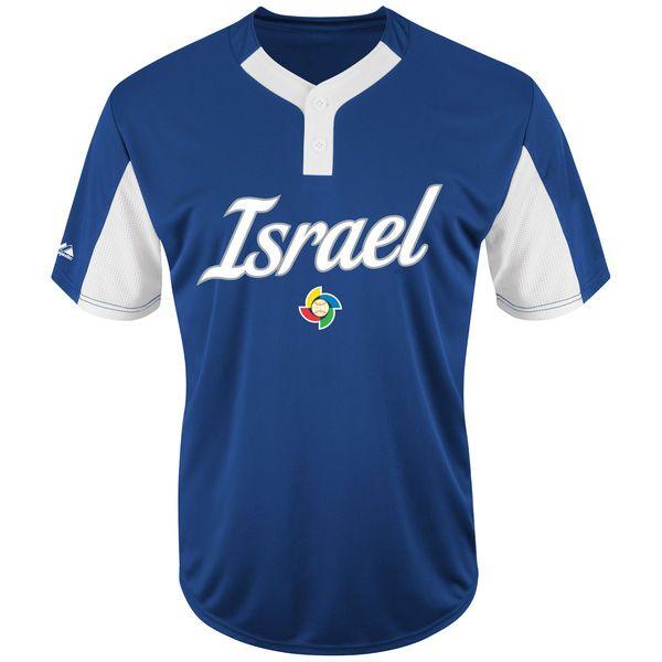 Men S Israel Baseball Majestic Royal 2017 World Baseball Classic Replica Henley Team Jersey World Baseball Classic Japan Baseball Team Jersey