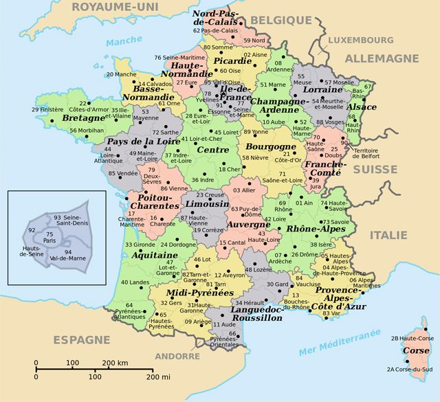 map of france with cities and towns Small administrative map of