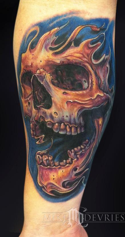 mike devries skull tattoo