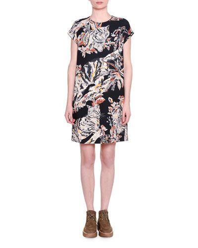 Stella Mccartney Cap Sleeve Cat Print Shift Dress Black Stellamccartney Cloth