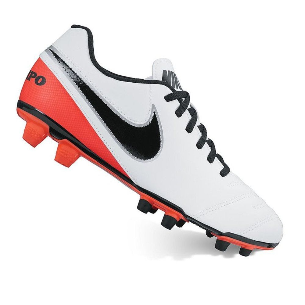 2cd42f60d59 Nike Womens Tiempo Rio III FG Soccer Cleats Size 7 Firm Ground White Red  Black  Nike  soccer