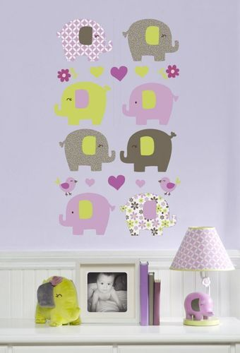 Carter Elephant Patches Wall Decals Girl Nursery Stickers Flower ...