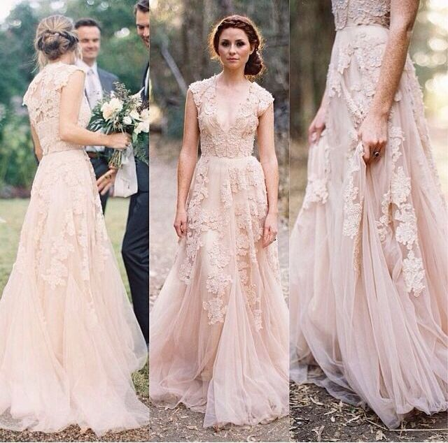 Vintage Lace Wedding Dresses Cap Sleeve Bridal Gowns Size 2 4 6 8 10
