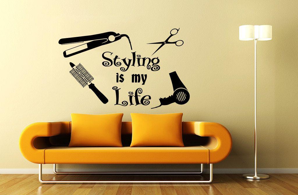 Wall decal beauty salon hair spa fashion styling is door cozydecal salon idea in 2019 beauty - Stickers salon design ...