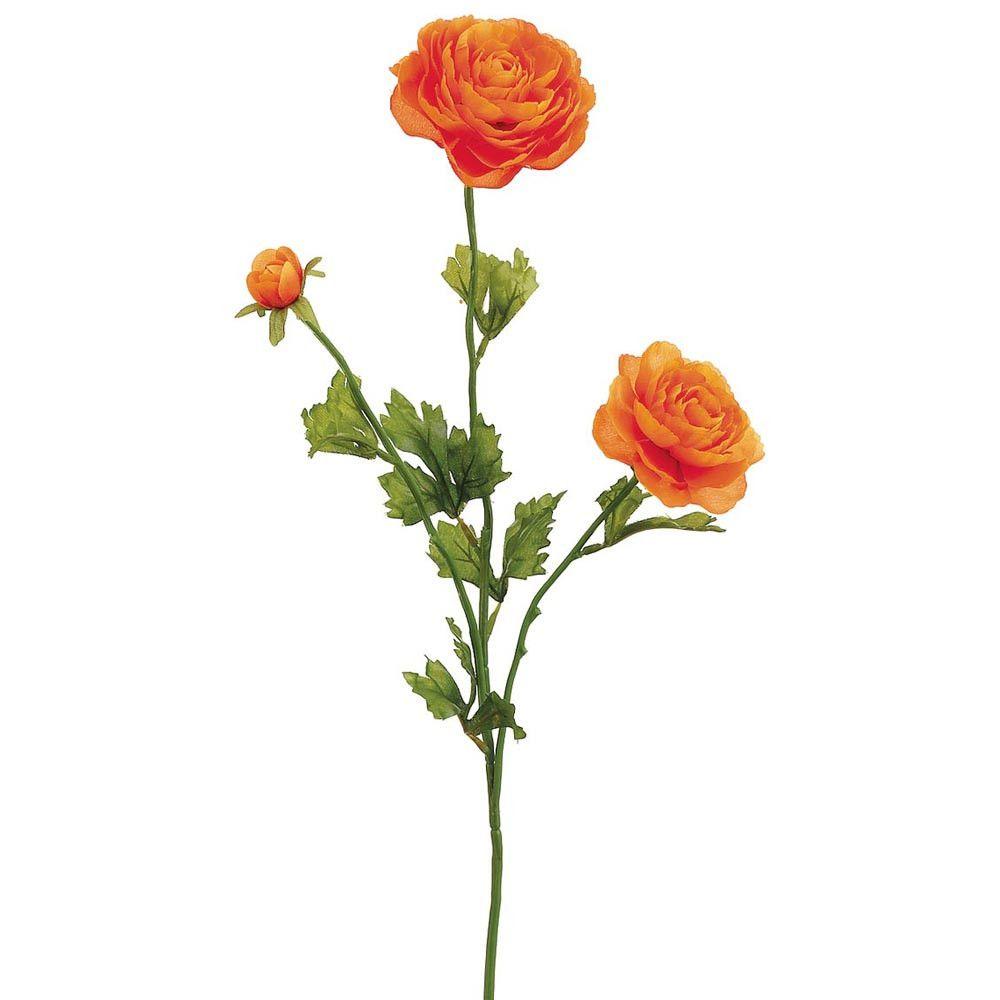 Silk Ranunculus Spray In Orange 3 Blooms X 27 Tall Flowers