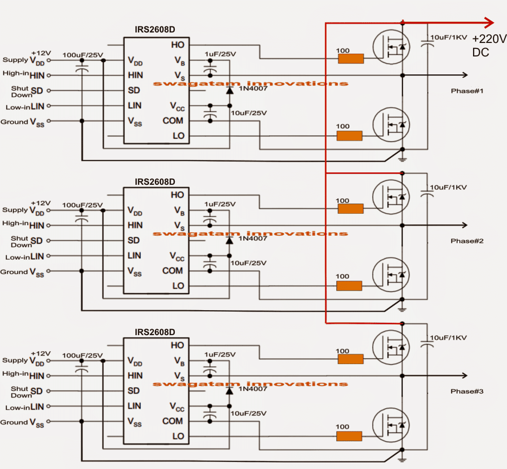 Simple 3 Phase Inverter Circuit Homemade Circuit Projects In 2020 Circuit Diagram Circuit Projects Circuit
