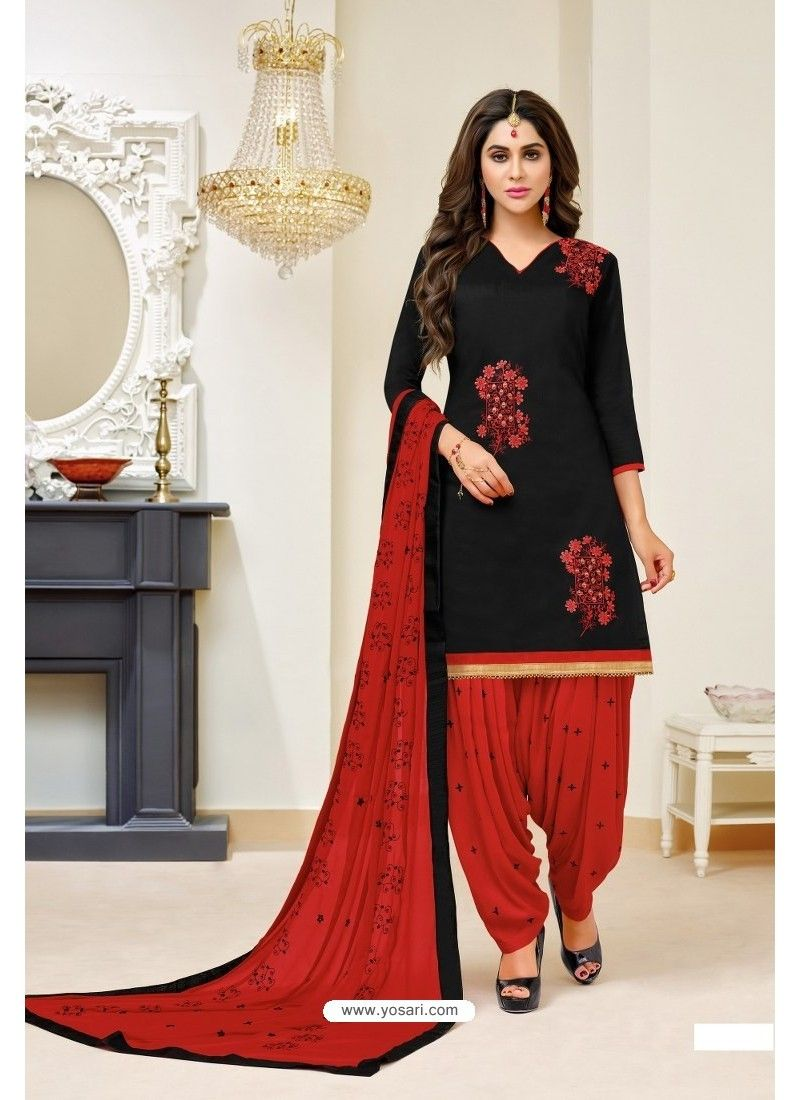 831f24660e Black And Red Lawn Slub Cotton Salwar Suit in 2019   Sweetheart ...