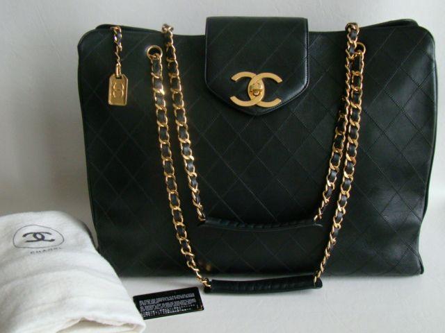 cc39eda66a0a Chanel Black XL Jumbo Weekender Overnighter Travel Tote Bag ...