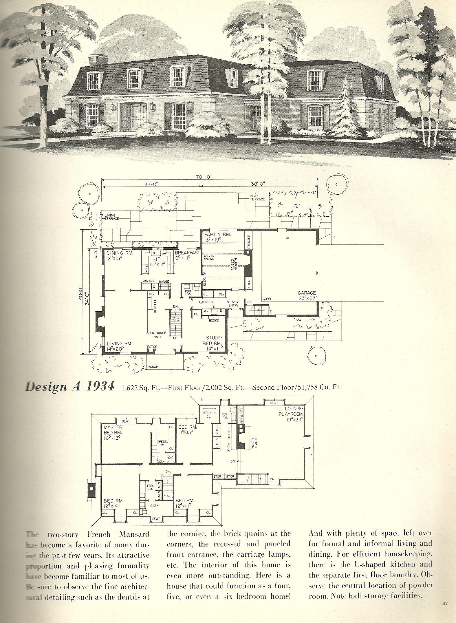 Vintage House Plans French Mansards 3 Vintage House Plans Vintage House Architectural House Plans