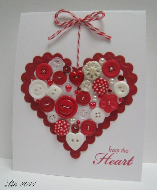 #papercraft #valentine's day #button #card