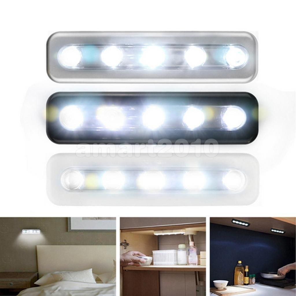 Push type led lamp bedside cabinet closet cupboard light battery