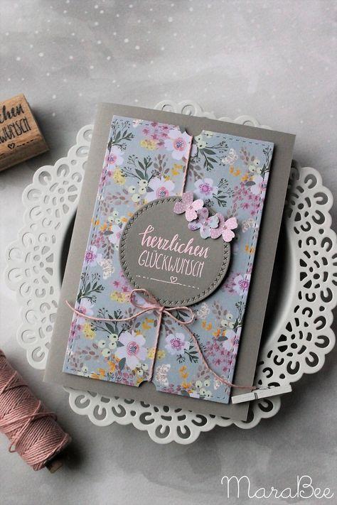 Geburtstagskarte in Rosatönen - blumig und frisch!