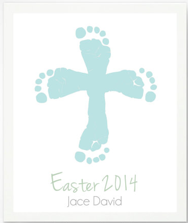First easter gifts for the baby personalized easter cross with first easter gifts for the baby personalized easter cross with blue baby footprint art print by pitter patter print etsy negle Images