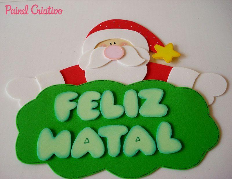 modelo plaquinha papai noel EVA decoracao sala de aula casa artesanato painel criativo 2  -> Decoração Em Eva Natal