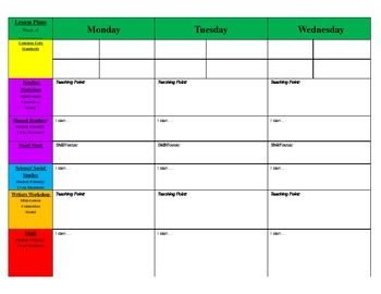 Weekly Primary Blank Lesson Plan Template  Classroom Ideas