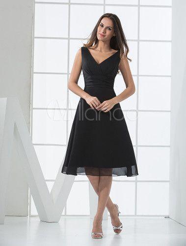 Vestido de dama de honra verão cetim Chiffon preto com decote em v profundo  - Milanoo.com a237595be8cd