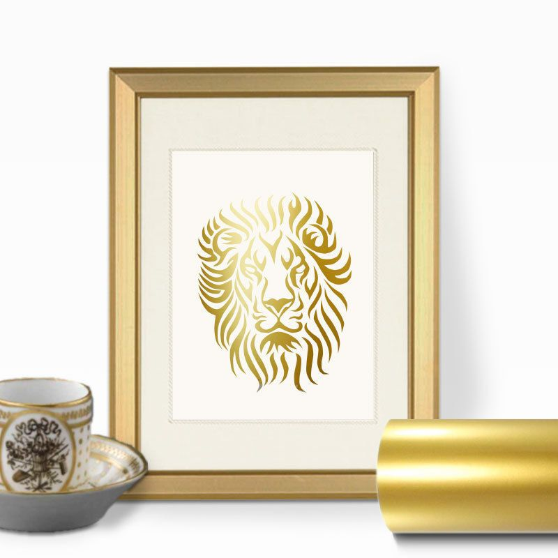 Lion Face Gold Foil Wall Art Print - Real Faux Gold Leaf, Animal ...