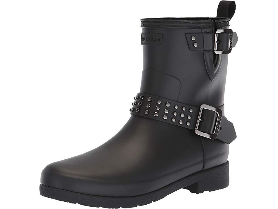 f8e5b634dff Hunter Refined Stud Biker Rain Boots Women's Rain Boots Black ...