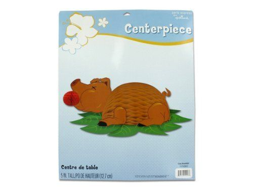 "luau honeycomb centerpiece - Case of 33 by bulk buys. $55.91. Comes as a pack of 33 .. Image shown may not be true representation for size or quantity of this product, please refer to the size and quantity stated in the above product title, or to description below!. What's a luau without the centerpiece pig with an apple? Here's a Hallmark honeycomb style centerpiece that comes complete with assembly instructions. 5"" tall and the tabletop fauna is about 12 1/2"" x 10"". The ..."