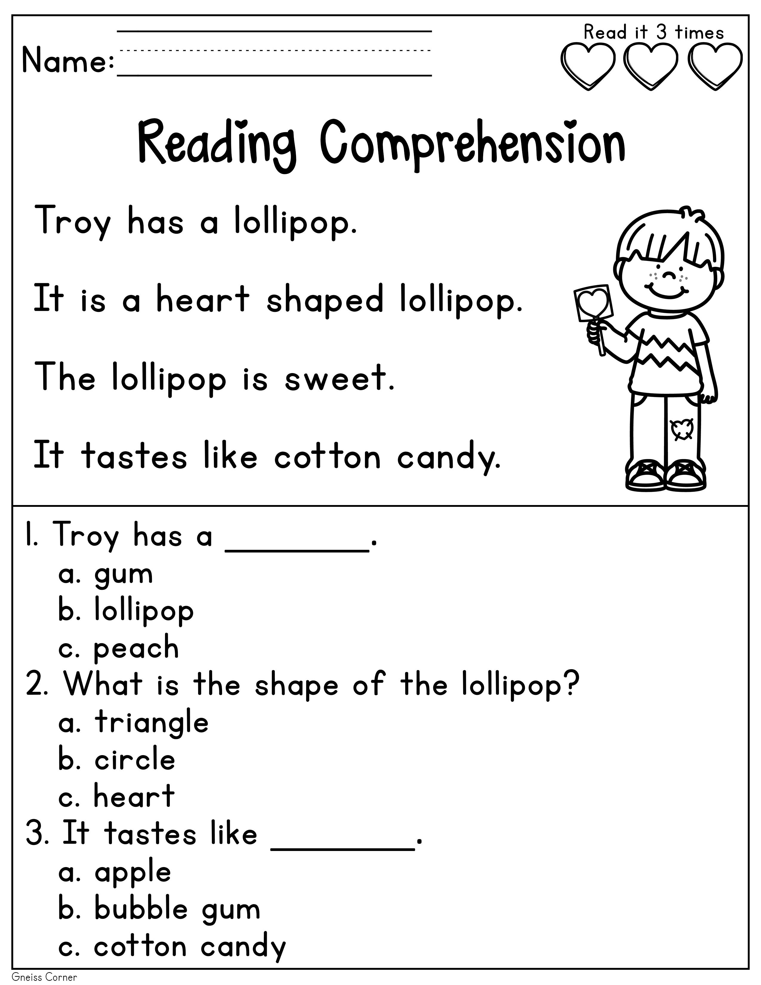 Kindergarten Reading Comprehension Passages and Questions (February)    Reading comprehension passages [ 3300 x 2550 Pixel ]
