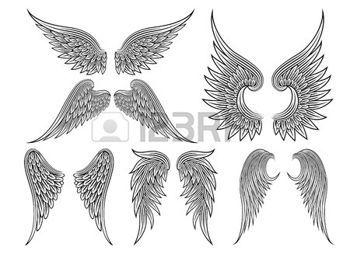 Aile d ange dessin vector ailes h raldiques ou ange - Tatouage ailes d ange ...